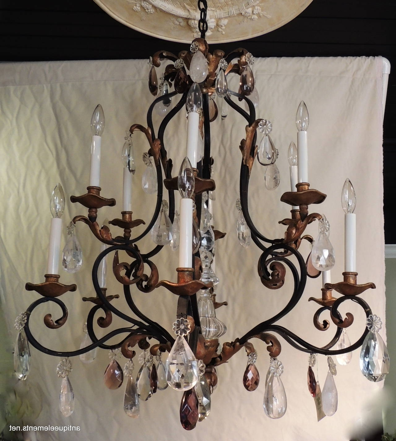 Wrought Iron Chandelier Pertaining To Well Liked Beautiful Large Wrought Iron And Gilt Chandelier With Amethyst And (View 5 of 20)