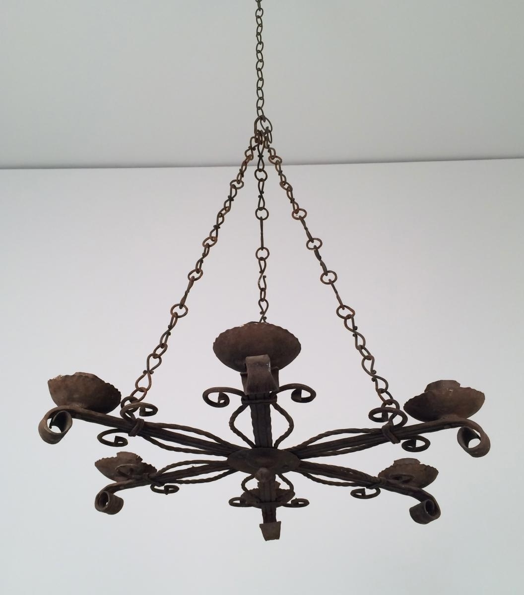 Wrought Iron Chandelier With 5 Candle Holders, 1920s For Sale At Pamono Regarding Preferred Wrought Iron Chandelier (View 3 of 20)
