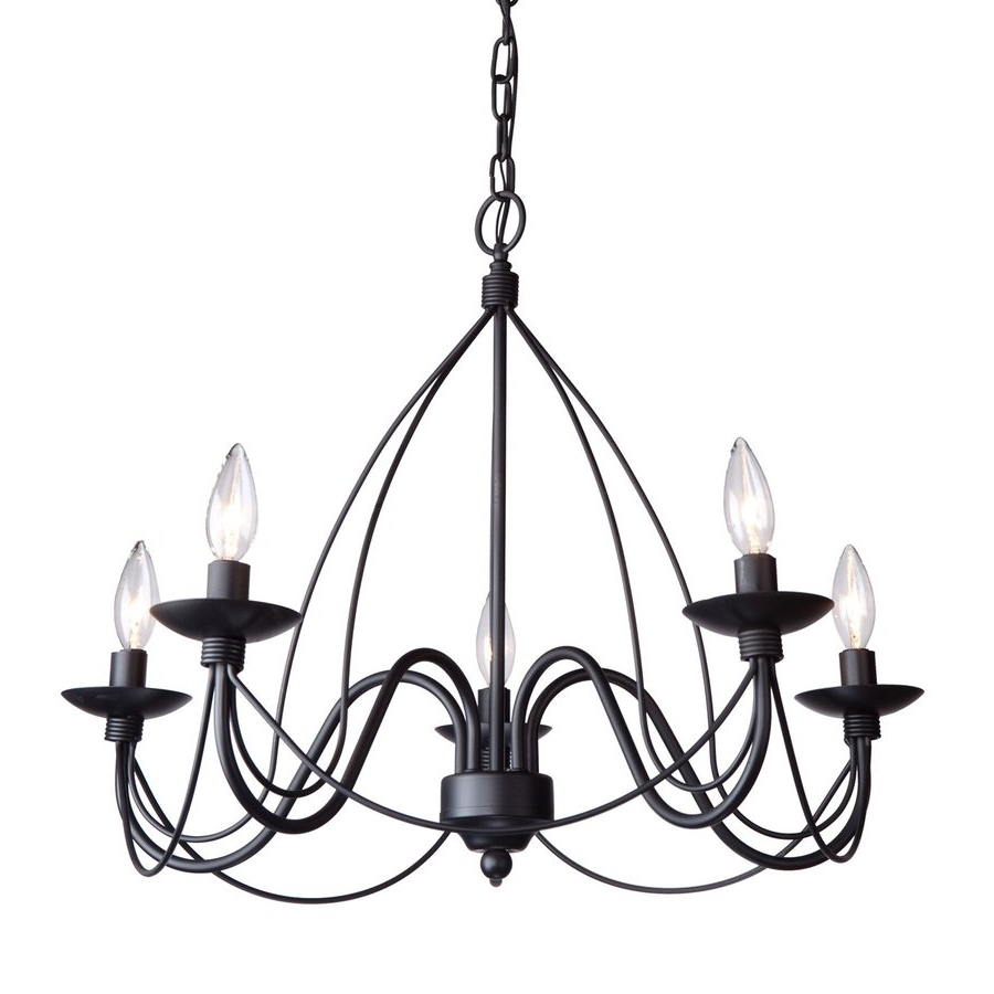 Wrought Iron Chandelier With Current Shop Artcraft Lighting Wrought Iron 24 In 5 Light Ebony Black (View 17 of 20)