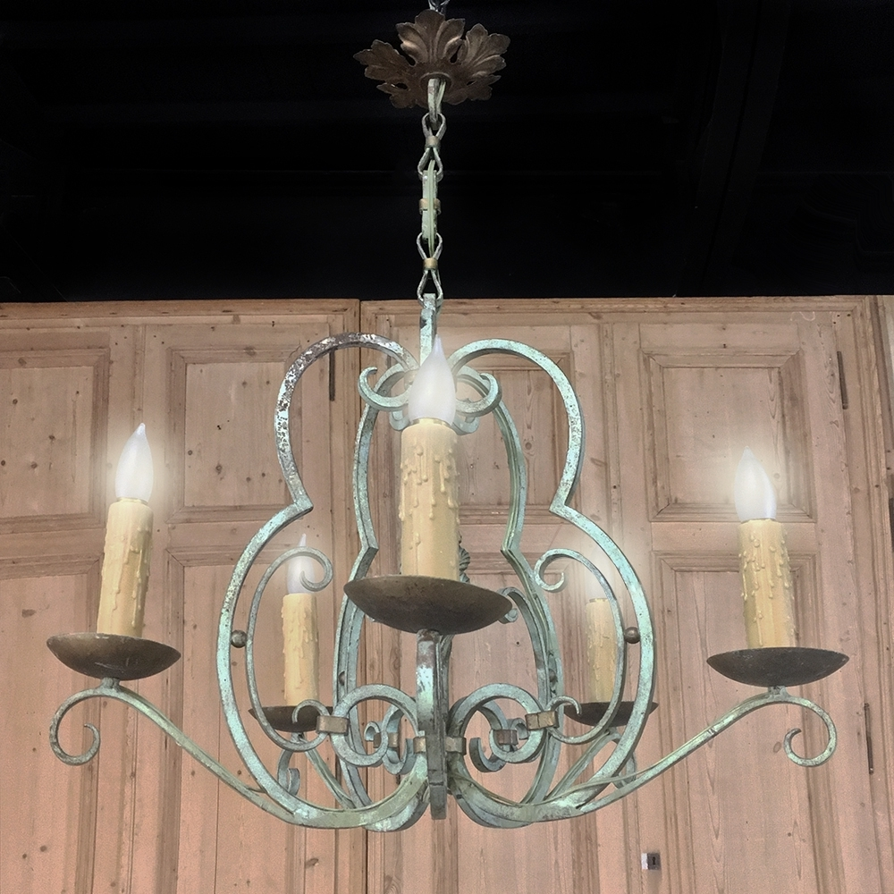 Wrought Iron Chandeliers Throughout Most Popular Antique Country French Painted Wrought Iron Chandelier – Inessa (View 15 of 20)