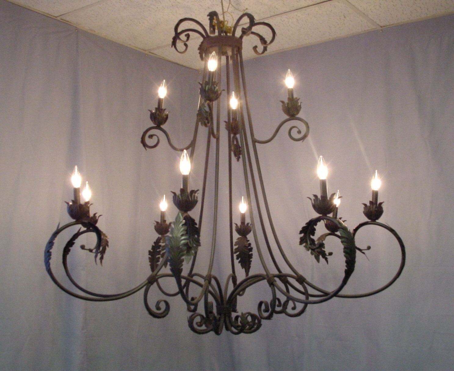 Wrought Iron Chandeliers With Crystal Accents : Lamp World Pertaining To Newest Wrought Iron Chandeliers (View 12 of 20)