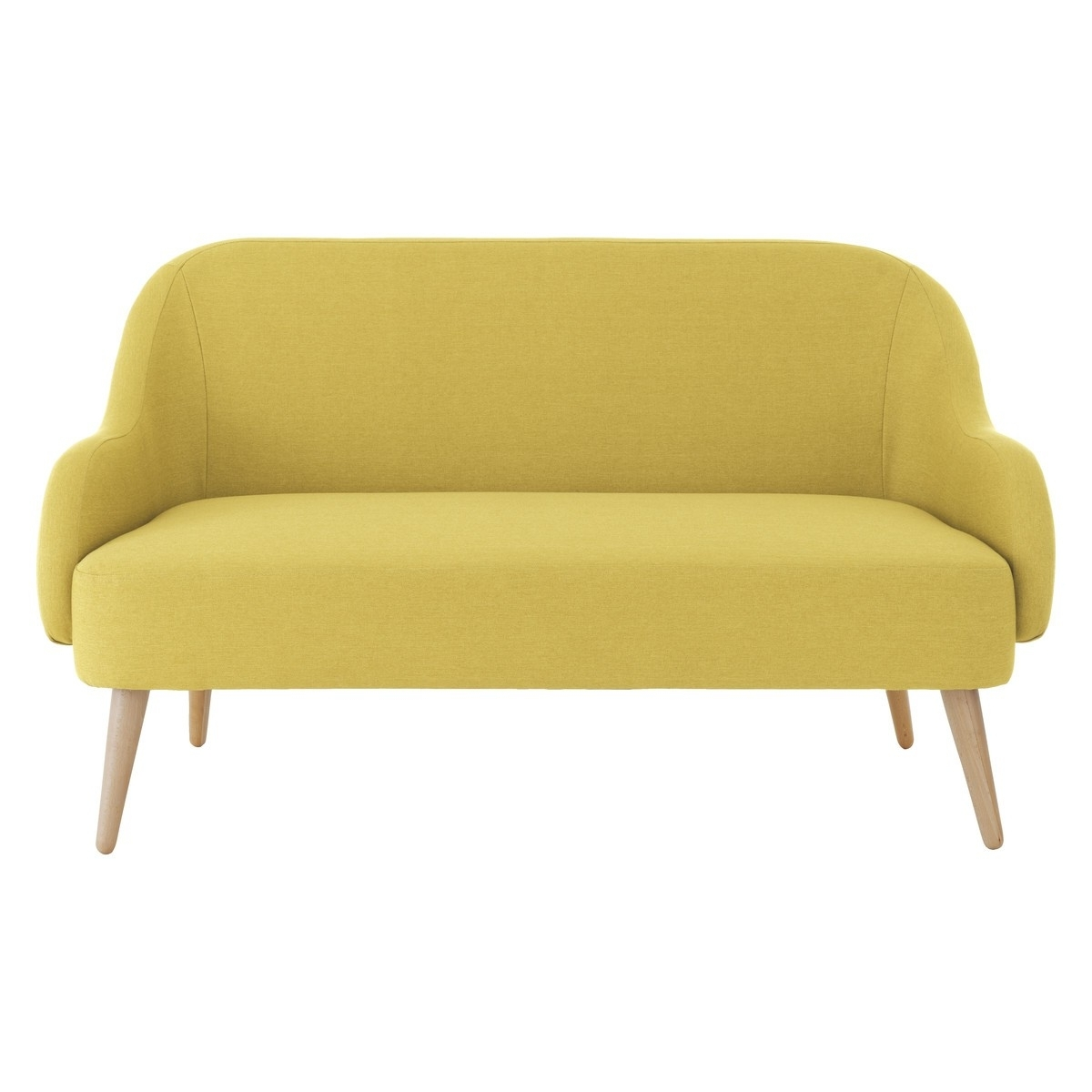 Yellow Fabric, Sofa Inside Popular Small 2 Seater Sofas (View 20 of 20)