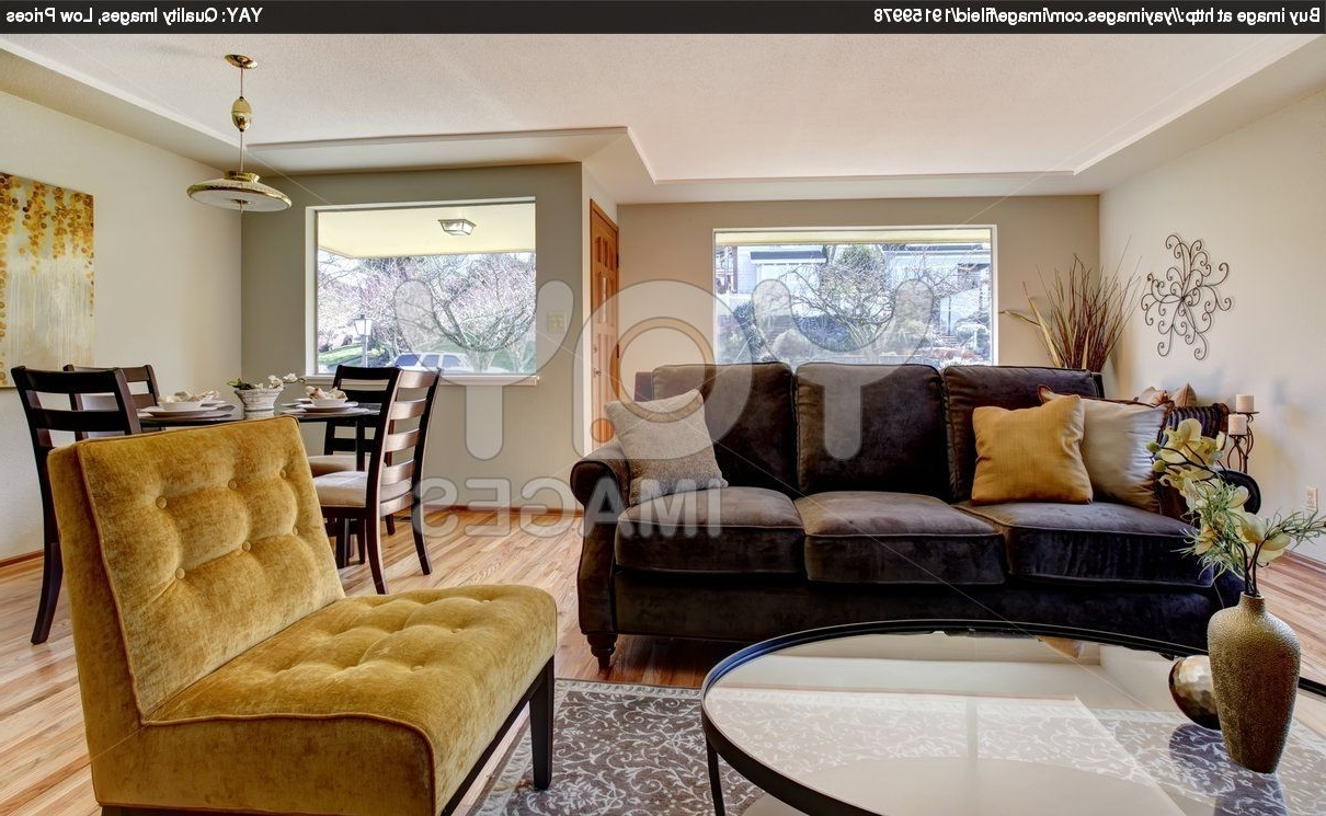 Yellow Sofa Chairs Within 2019 Images Of Living Rooms With Dark Brown Sofas (View 8 of 20)
