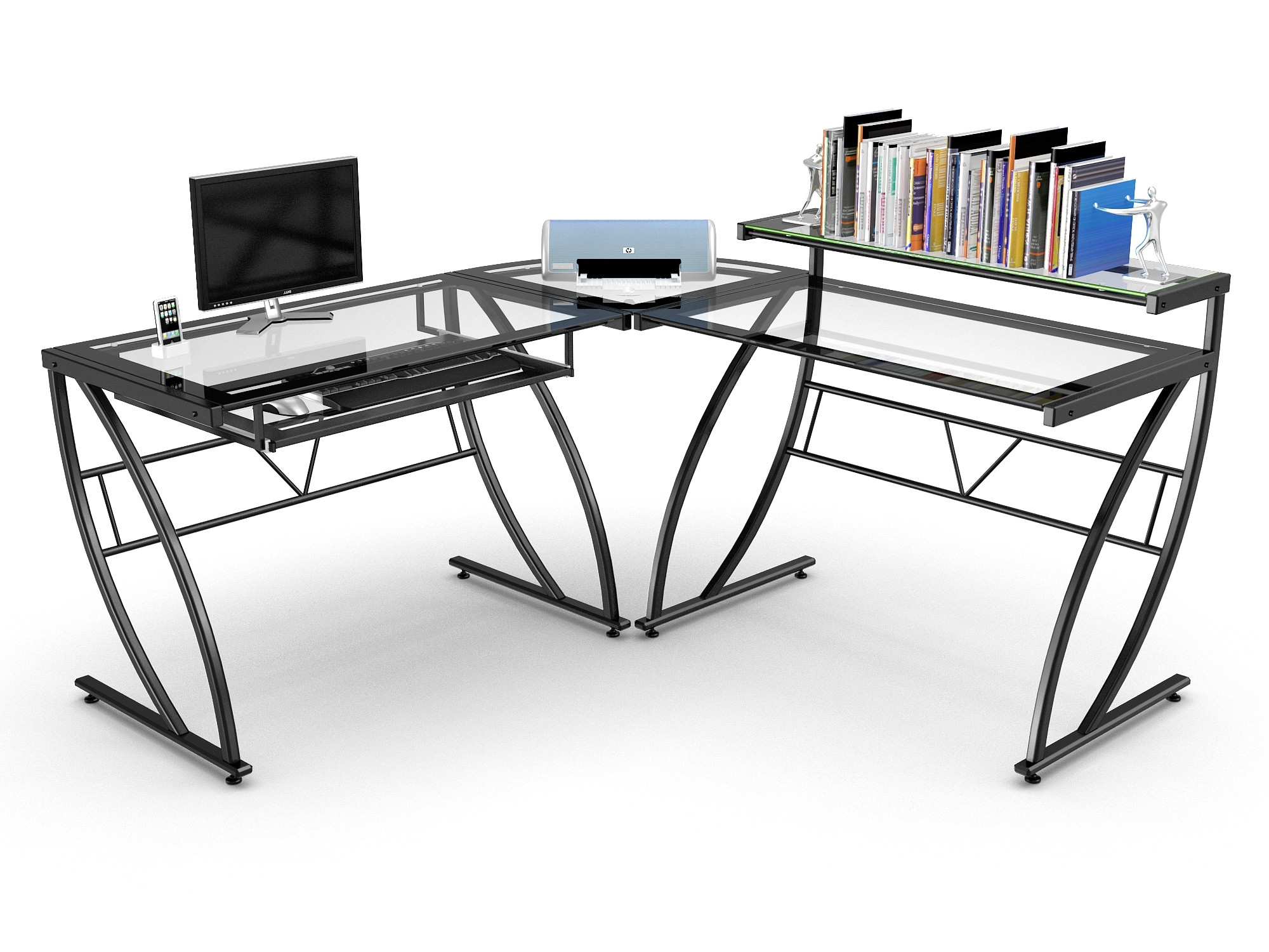 Z Line Computer Desks Intended For Well Known Amazing Z Line Belaire Glass L Shaped Gaming Computer Desk Best (View 11 of 20)