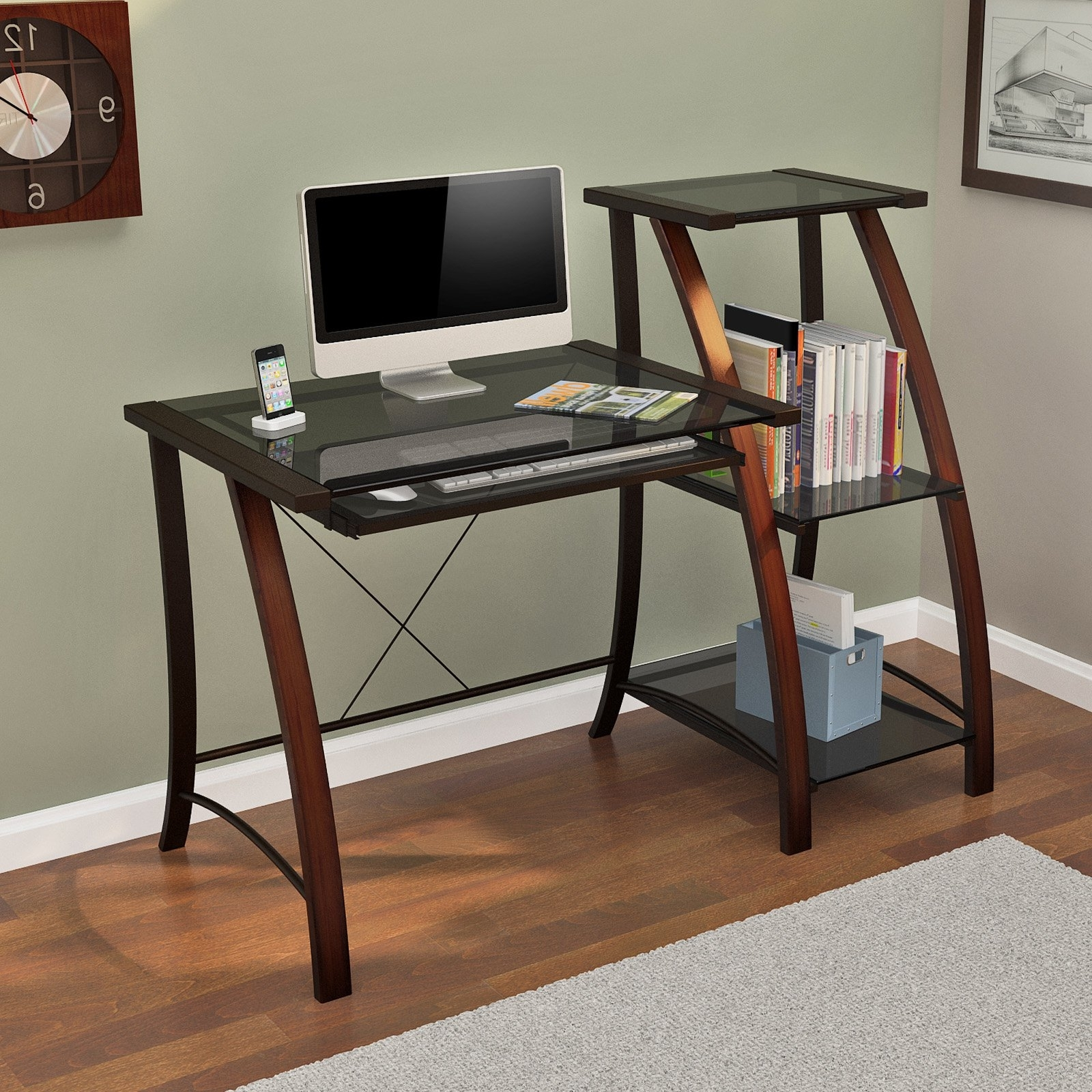 Z Line Triana Desk And Bookcase – Cherry – Walmart Throughout Most Recently Released Z Line Computer Desks (View 20 of 20)