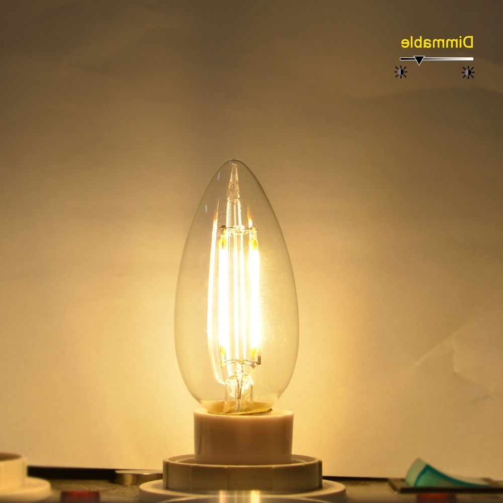 110V 220V Dimmable Led Bulb Filament E14 E12 Led Candle Light Cob Pertaining To Most Popular Led Candle Chandeliers (View 1 of 20)
