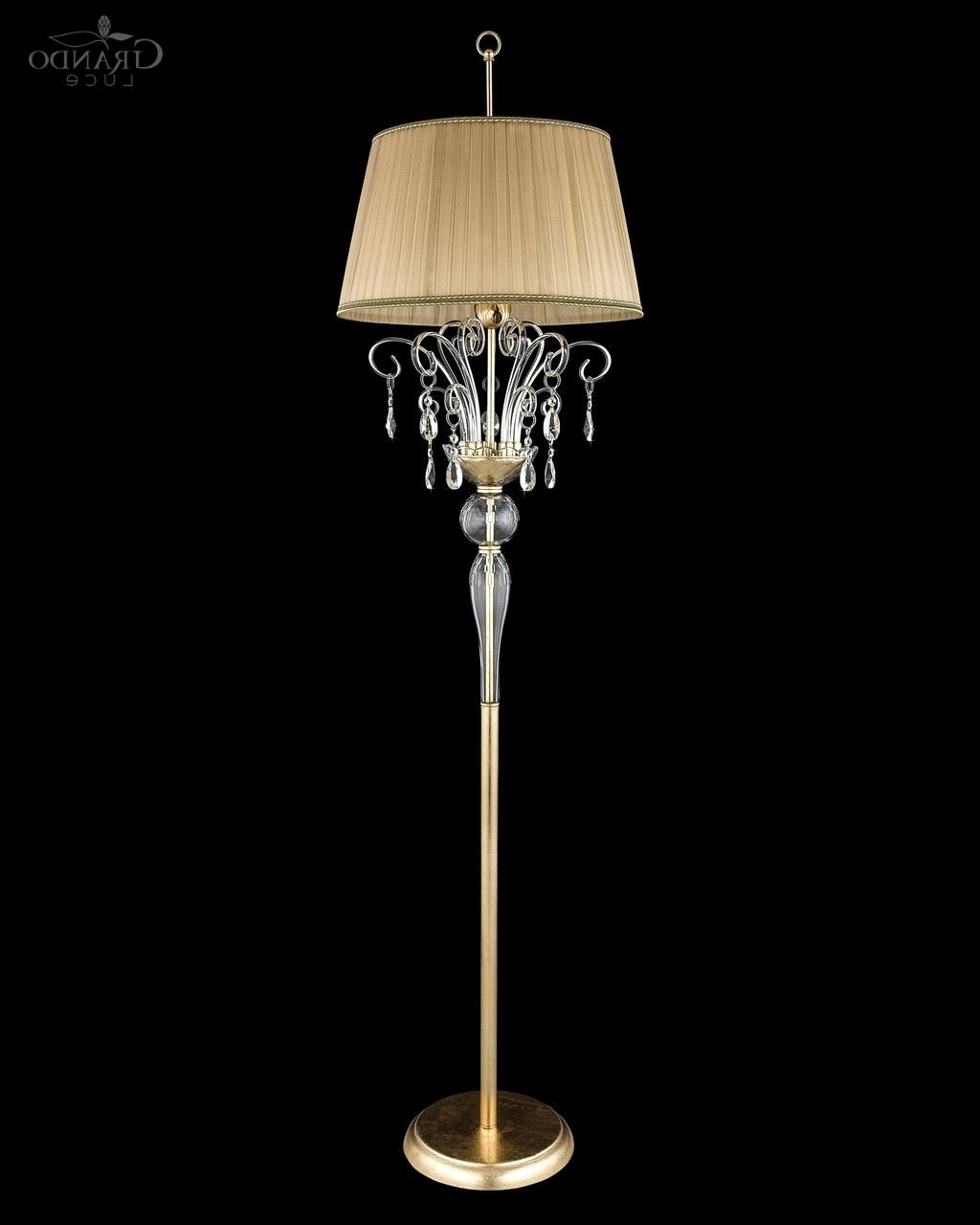 120/fl Gold Leaf Crystal Floor Lamp – Grandoluce With Regard To Current Crystal Chandelier Standing Lamps (View 1 of 20)