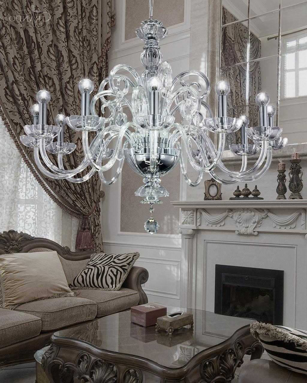 125/ch 12 Chrome Crystal Chandelier With Crystal Swarovski Spectra In Most Recent Crystal Chrome Chandelier (View 1 of 20)