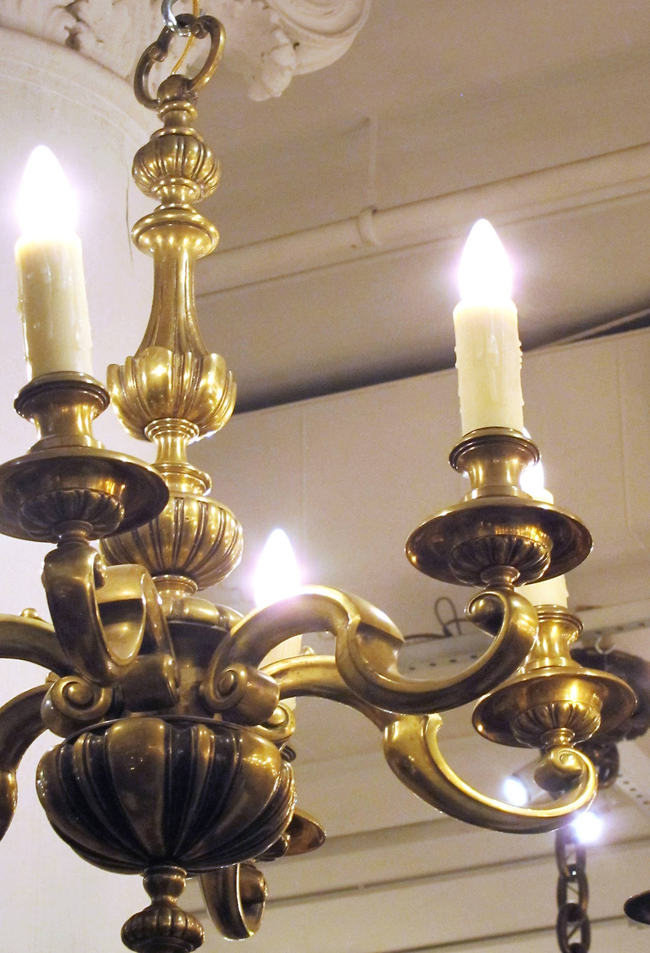 1920S English Bronze Georgian Style Six Light Chandelier For Sale At In Fashionable Georgian Chandeliers (Gallery 13 of 20)