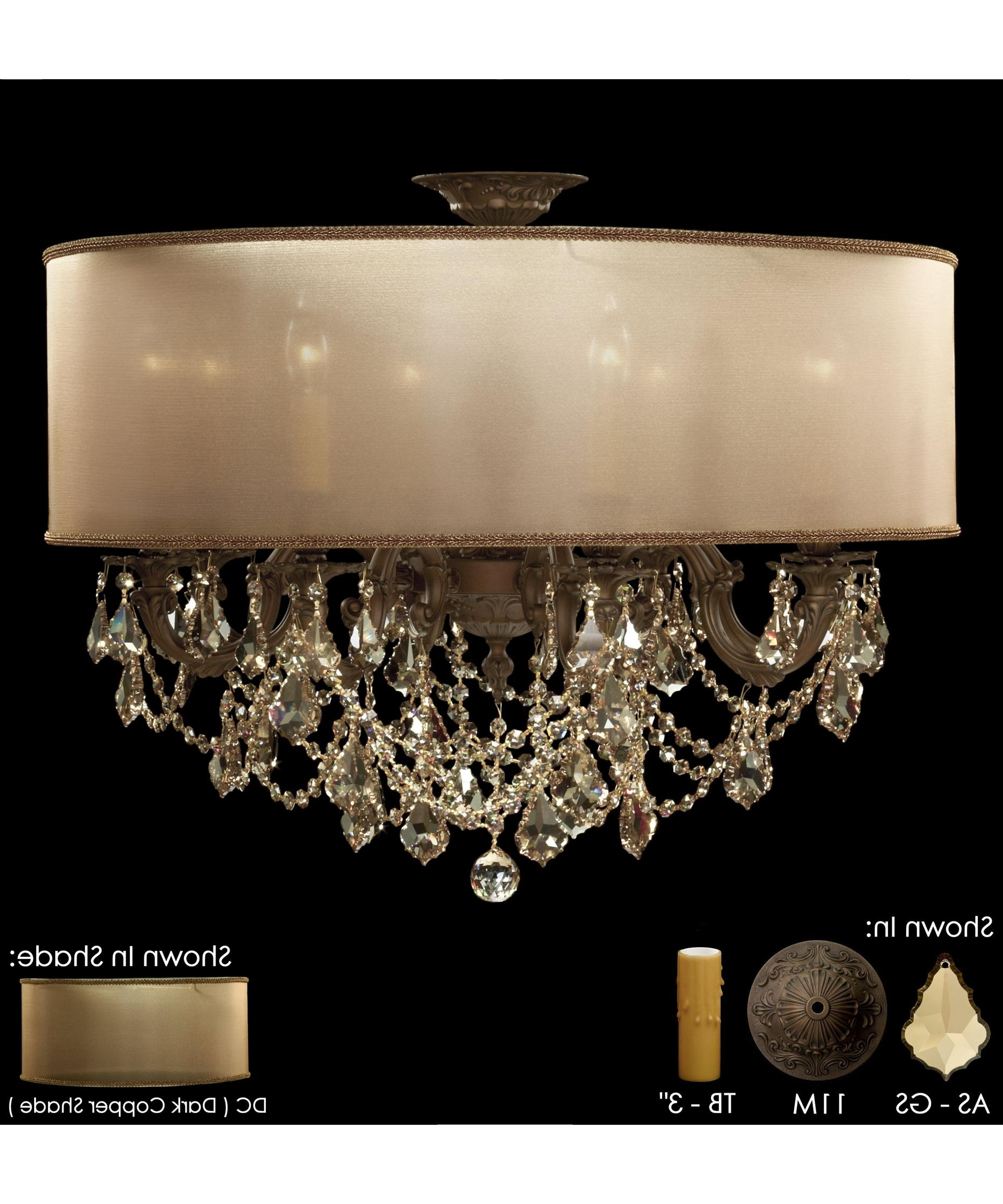 2018 American Brass And Crystal Fm6541 Llydia 28 Inch Wide Semi Flush Throughout Flush Chandelier (View 1 of 20)