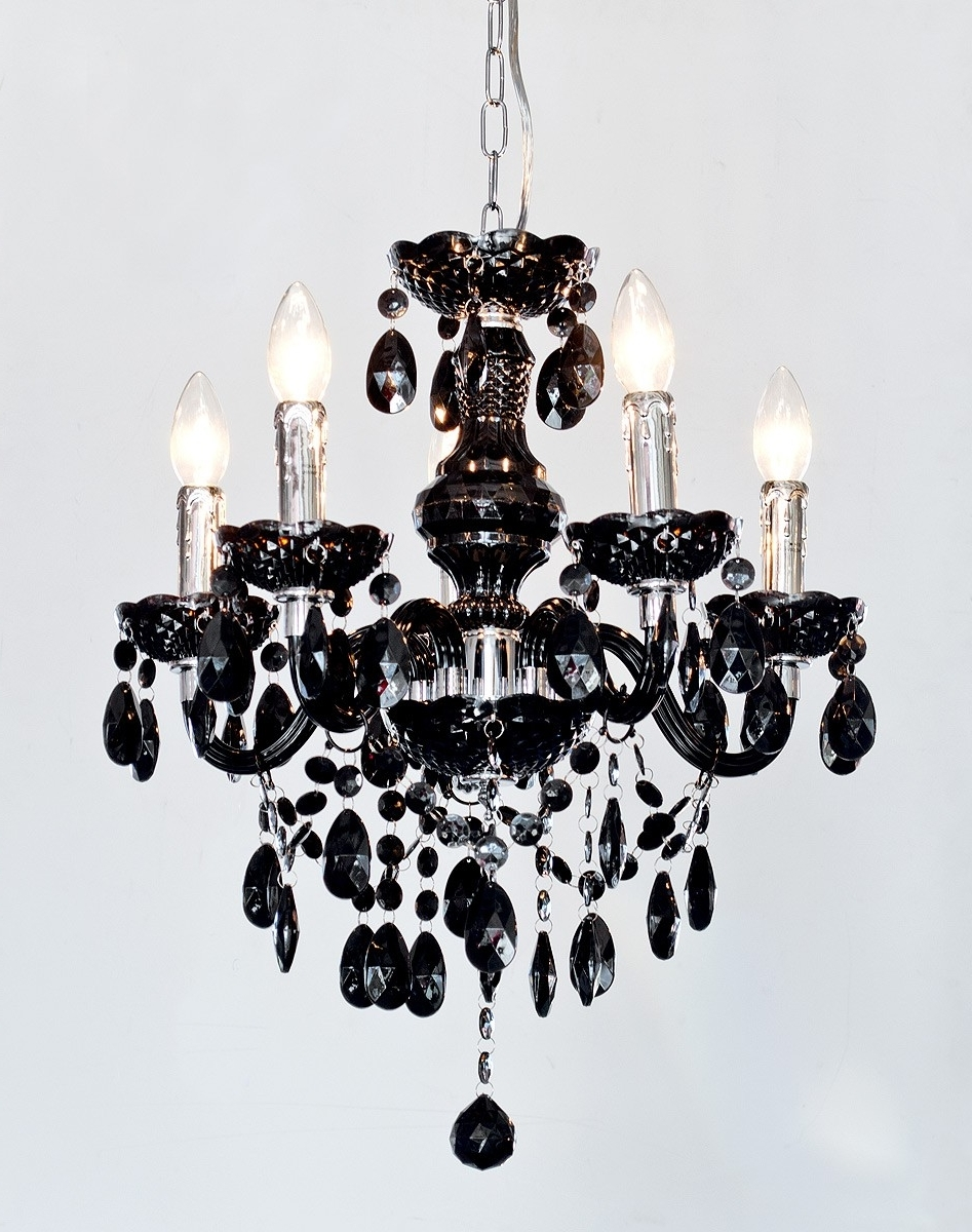 2018 Black Chandeliers Within Henley Black Crystal 5 Lamp Chandelier – Be Fabulous! (View 12 of 20)
