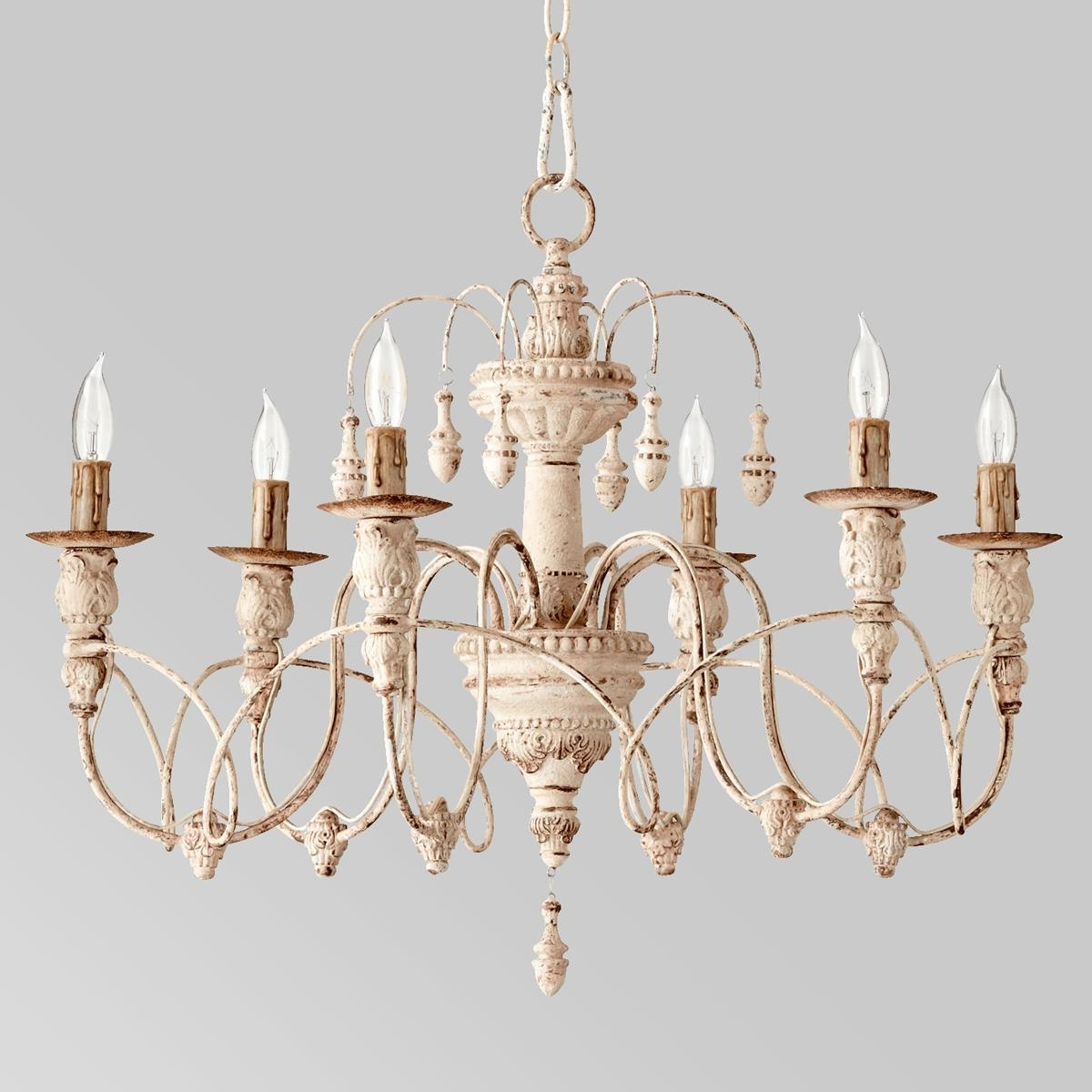2018 Candle Look Chandeliers Throughout Gustavian Style White Chandelier (View 1 of 20)