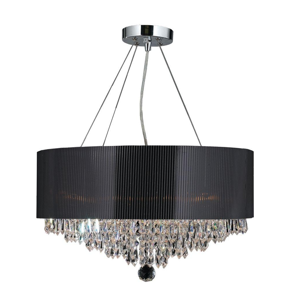 2018 Chandeliers With Black Shades With Regard To Worldwide Lighting Gatsby Collection 8 Light Polished Chrome And (View 1 of 20)