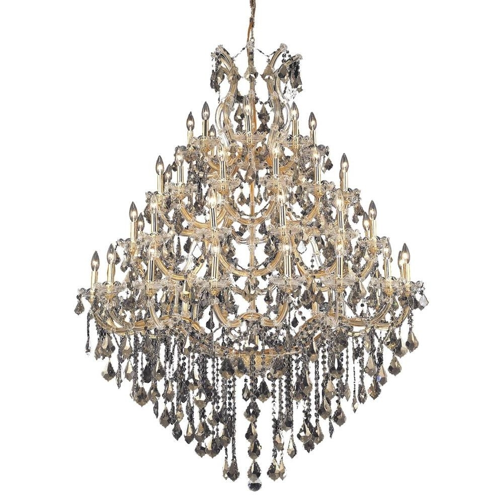 2018 Elegant Lighting 49 Light Gold Chandelier With Golden Teak, Smoky In Crystal Gold Chandelier (View 1 of 20)