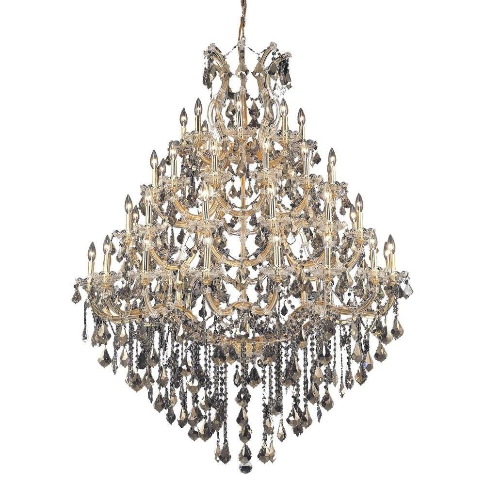 2018 Elegant Lighting 49 Light Gold Chandelier With Golden Teak, Smoky In Crystal Gold Chandelier (View 20 of 20)