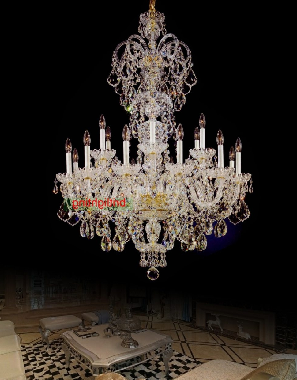 2018 Extra Large Crystal Chandeliers In Light : Large Crystal Chandelier Entrance Hall Lighting Luxury Light (View 1 of 20)