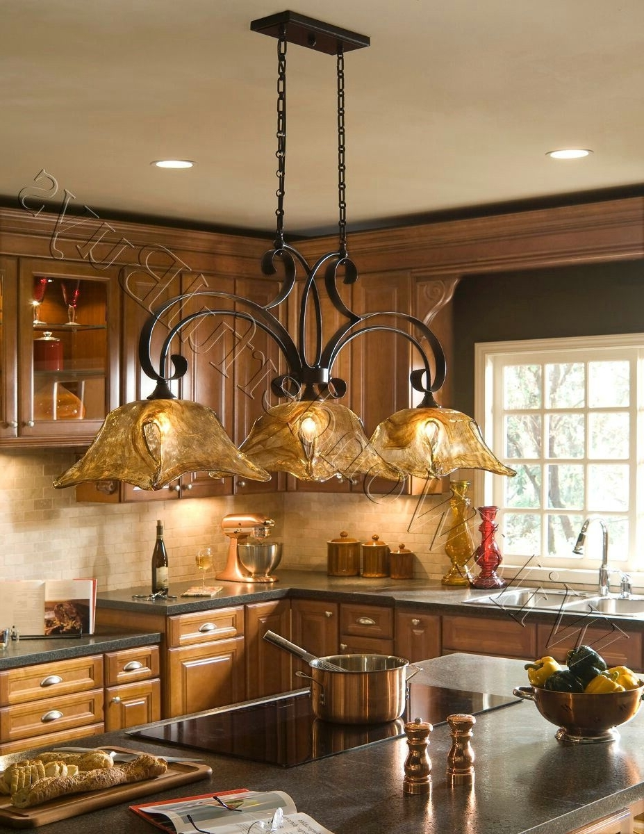 2018 French Country 3 Light Tulip Chandelier Kitchen Island Pendant Iron In French Country Chandeliers For Kitchen (View 1 of 20)