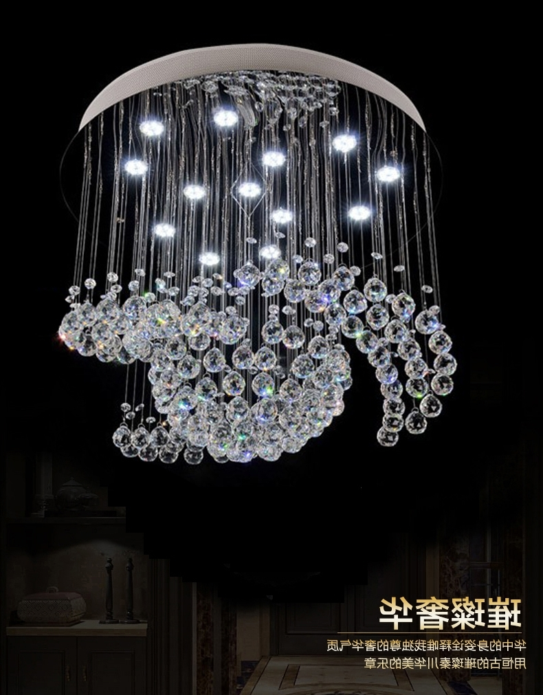 2018 New Design Large Crystal Chandelier Lights Dia80*h100cm Ceiling With Regard To Chandelier Lights For Living Room (View 4 of 20)