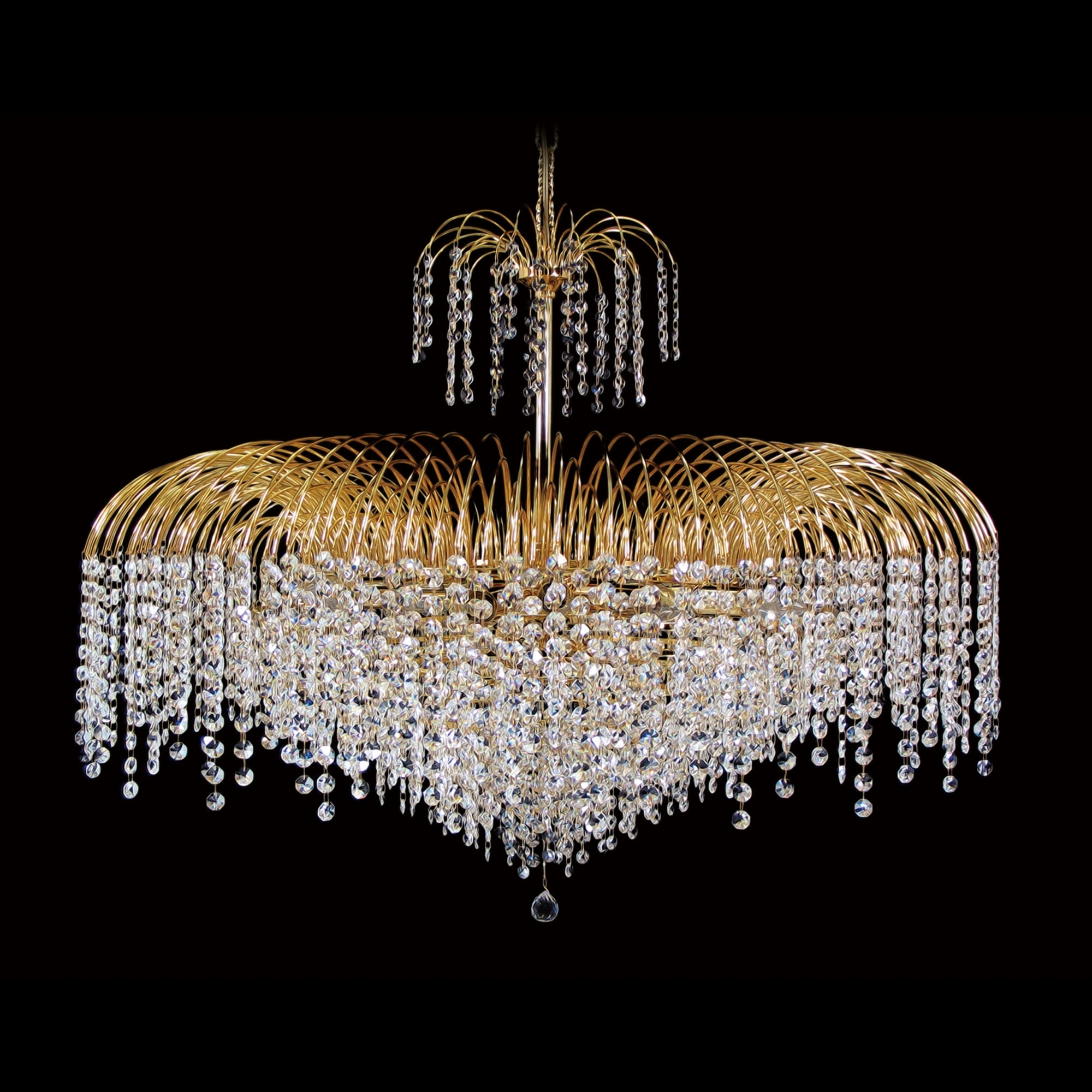 "2019 15 Light – 32"" Asfour Lead Crystal 24Ct Gold Plated Waterfall With Regard To Crystal Waterfall Chandelier (View 1 of 20)"