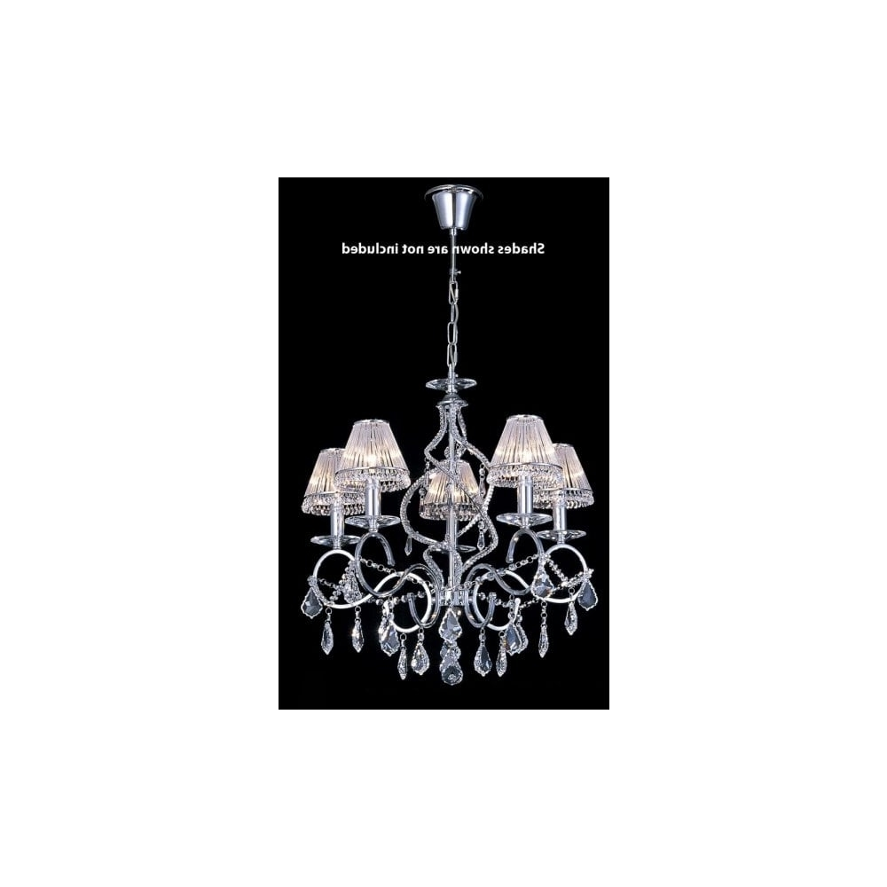 2019 5 Light Crystal Chandelier On A Chrome Suspension Chain (View 12 of 20)