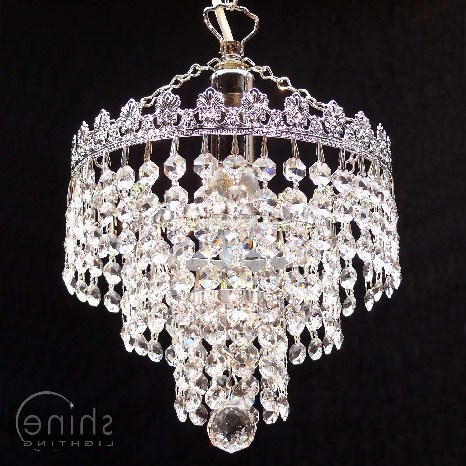 2019 8' 3 Tier Crystal Chandelier Throughout 3 Tier Crystal Chandelier (View 1 of 20)