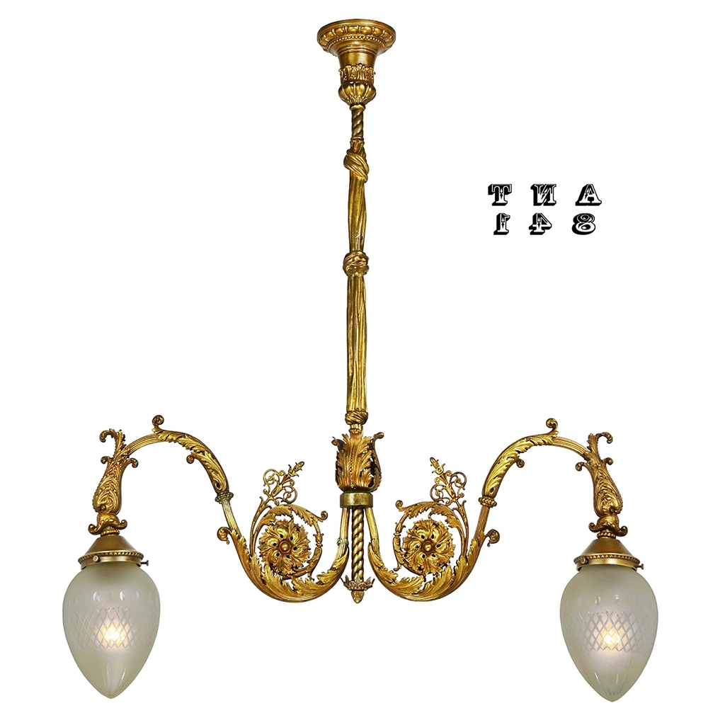 2019 Antique Brass 2 Arm Hall Pendant Light Neo Rococo Victorian For Edwardian Chandeliers (View 16 of 20)