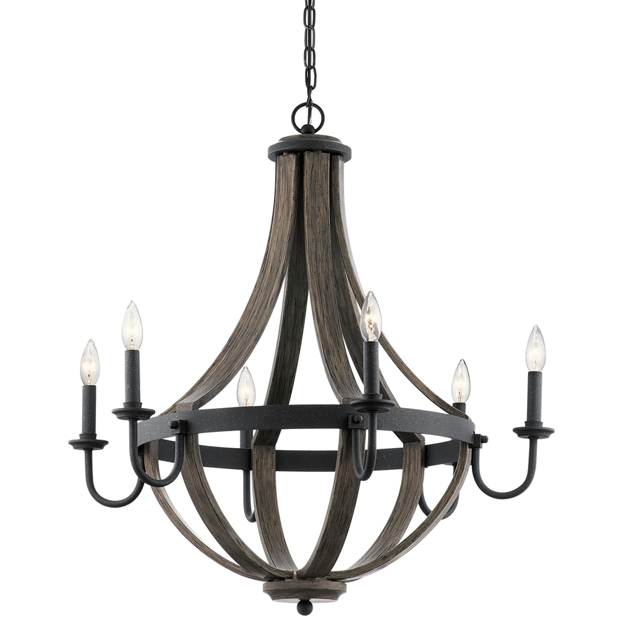 2019 Black Iron Chandeliers For Shop Kichler Merlot 30 In 6 Light Distressed Black And Wood Barn (View 2 of 20)