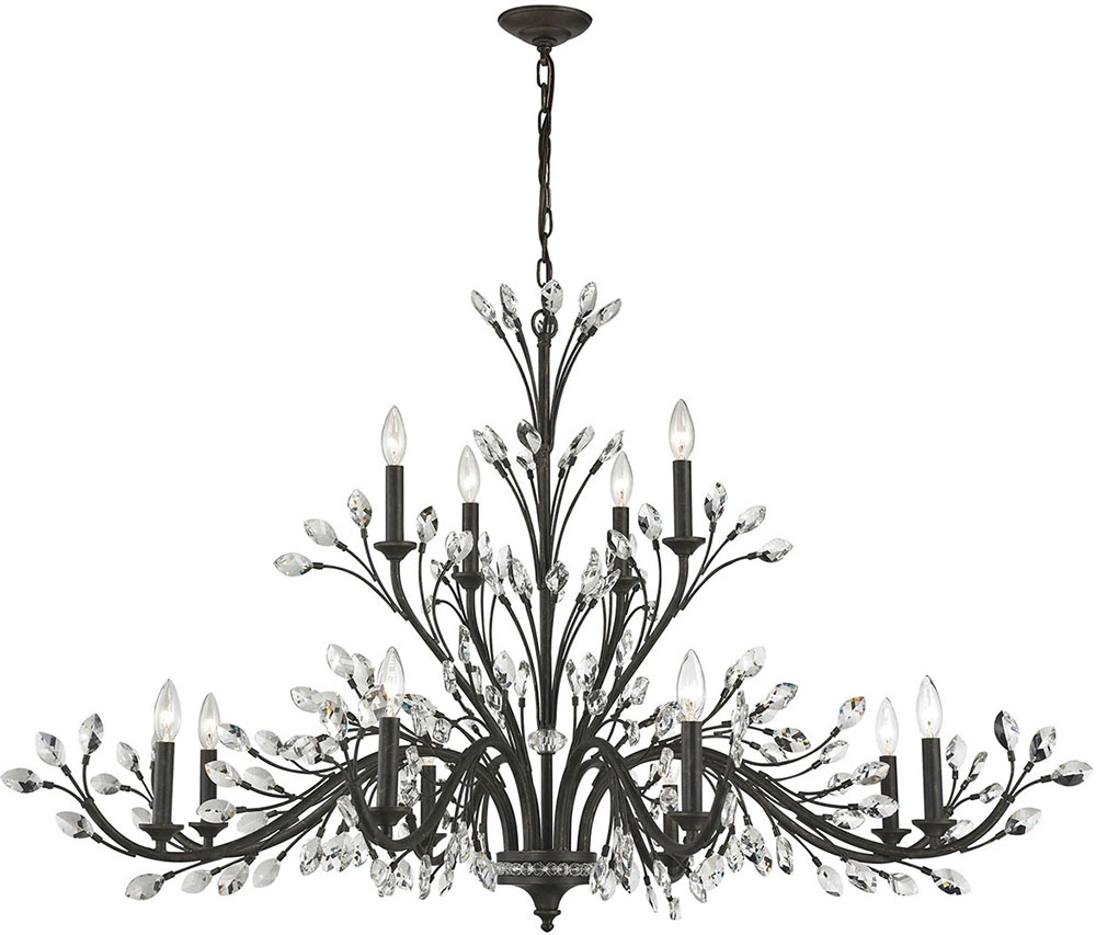 2019 Branch Crystal Chandelier With Regard To Elk 11777 8 4 Crystal Branches Burnt Bronze Chandelier Lamp – Elk (View 1 of 20)