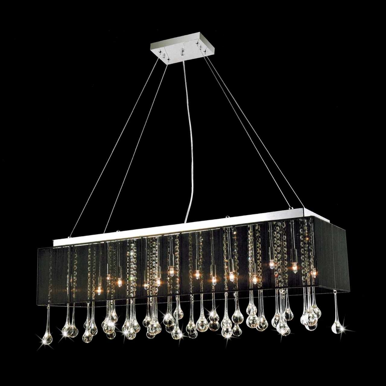 "2019 Brizzo Lighting Stores. 40"" Gocce Modern String Shade Crystal Intended For Modern Black Chandelier (Gallery 4 of 20)"