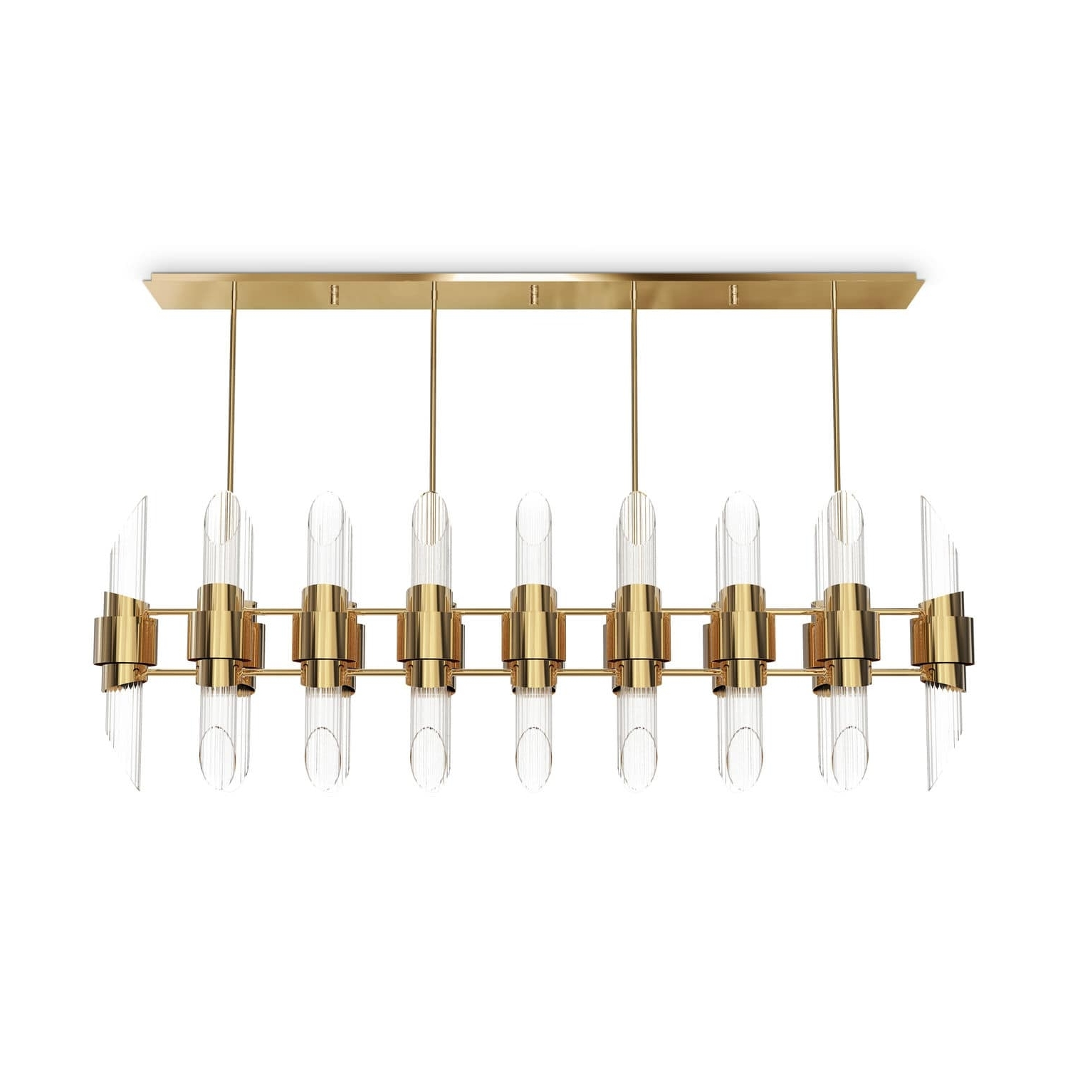2019 Contemporary Chandelier Within Contemporary Chandelier / Crystal / Brass – Tycho Rectangular (View 1 of 20)