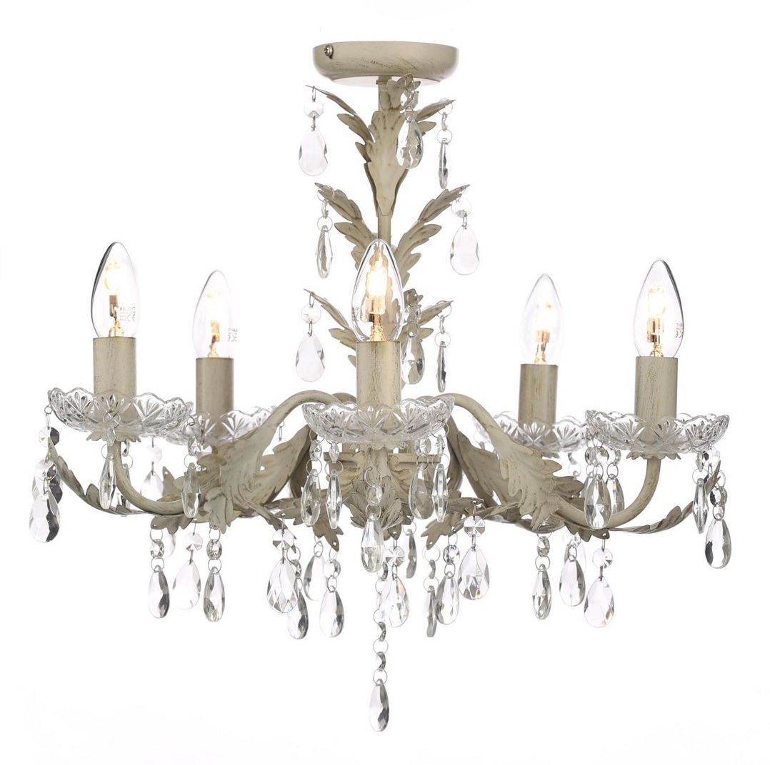 2019 Cream Chandelier Intended For Chandelier Ceiling Light Candle Effect Paisley Cream Flush Home (View 1 of 20)