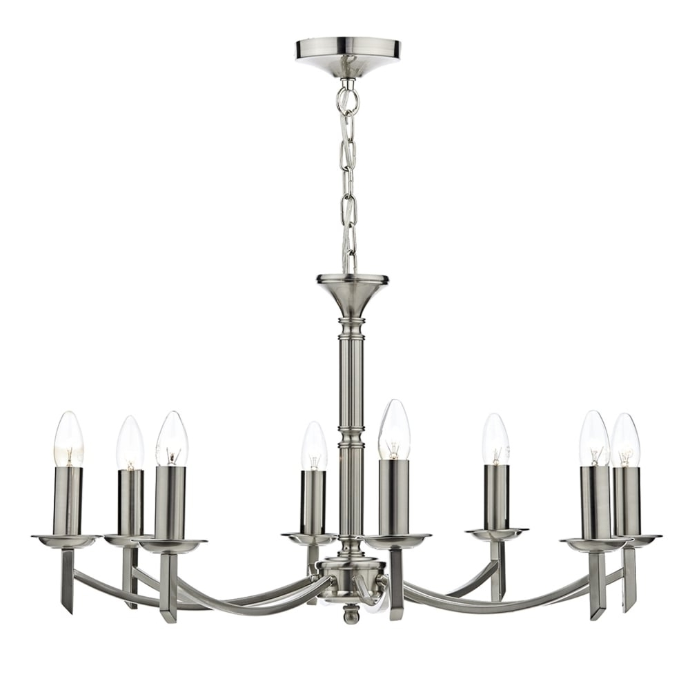 2019 Dar Lighting Ambassador 8 Light Chandelier Pendant In Satin Chrome For Chandelier Chrome (View 1 of 20)