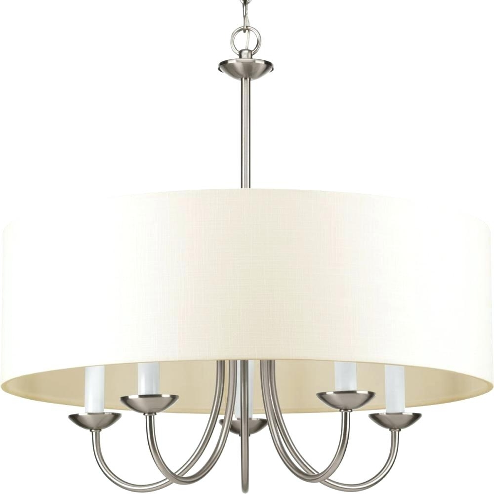 2019 Drum Lamp Shades For Chandeliers Pertaining To Light : Five Light Brushed Nickel Off White Glass Drum Shade (View 9 of 20)