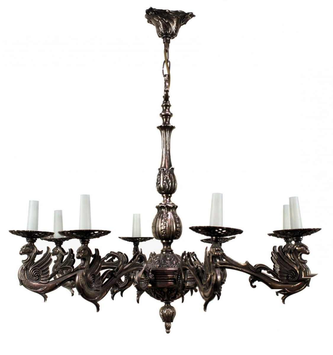 2019 French Silvered Bronze Gothic Style Chandelier, 1900s For Sale At Pamono With Regard To French Bronze Chandelier (View 15 of 20)