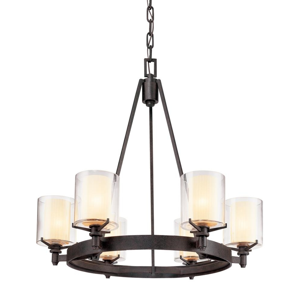 2019 Iron Chandelier With Troy Lighting Arcadia 6 Light French Iron Chandelier With Clear (View 1 of 20)