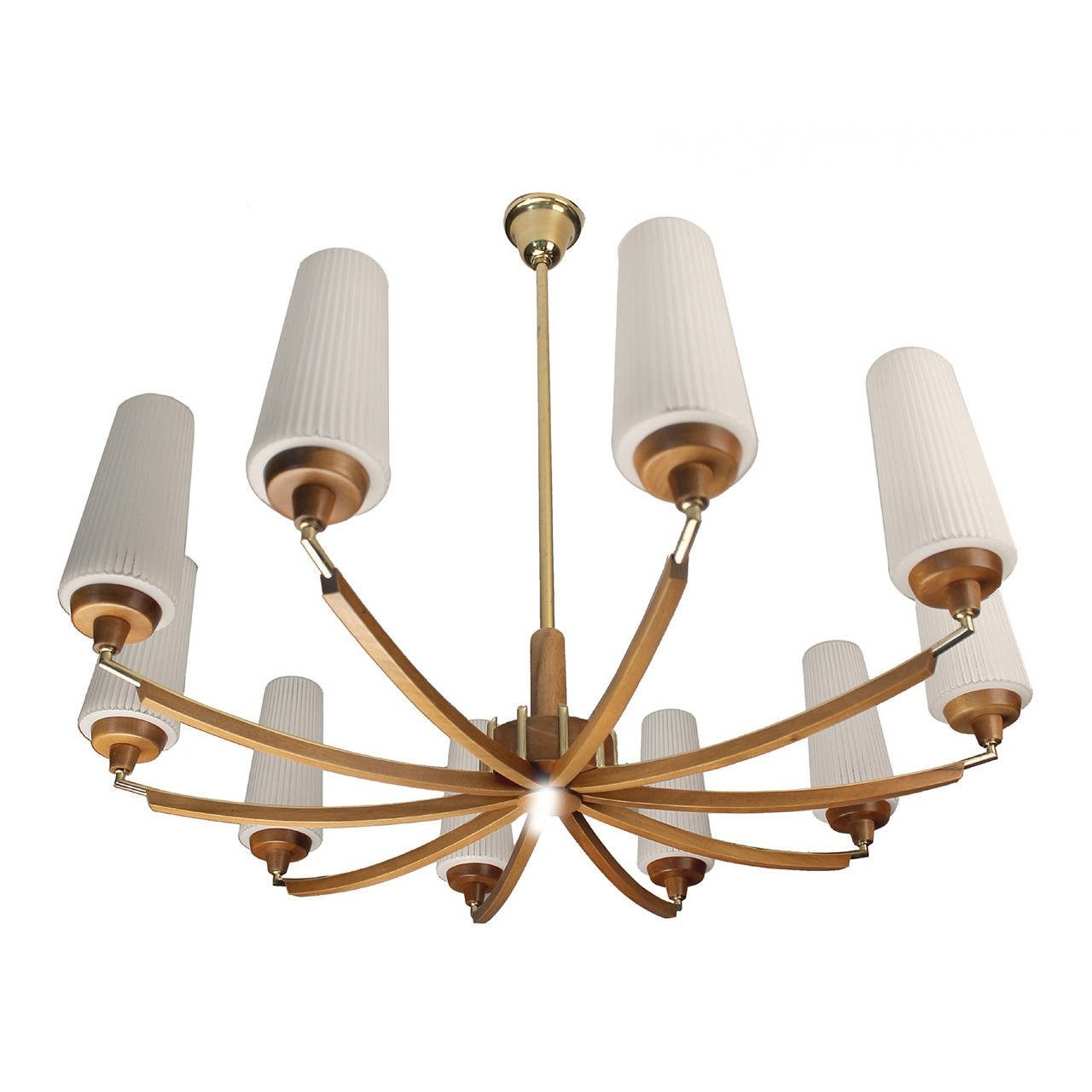 2019 Italian Wood And Brass Chandelier Glass Ceiling Fixture Mid Century Intended For Brass And Glass Chandelier (View 12 of 20)