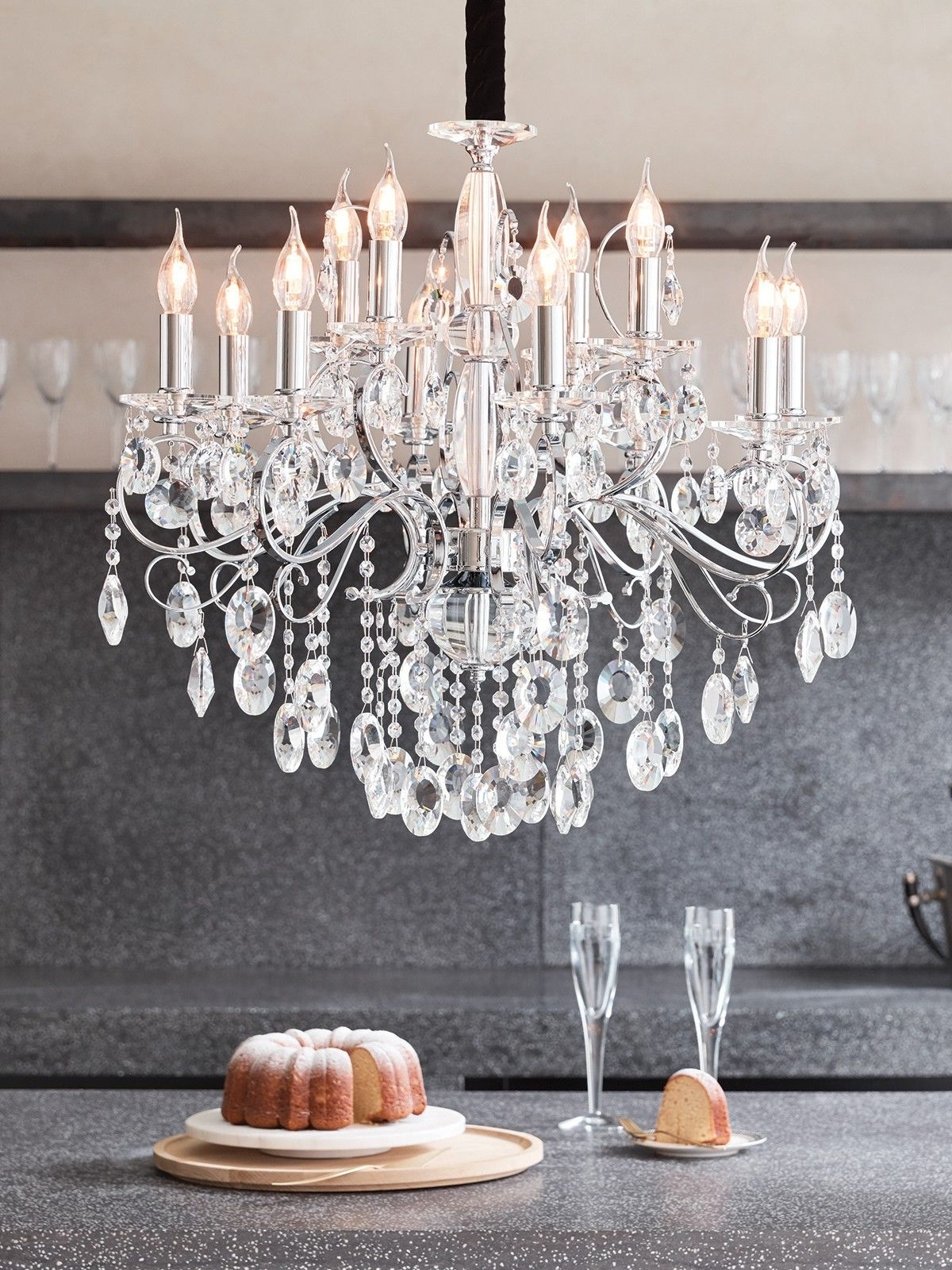 2019 Madeleine 12 Light Egyptian Crystal Chandelier In Chrome (View 2 of 20)