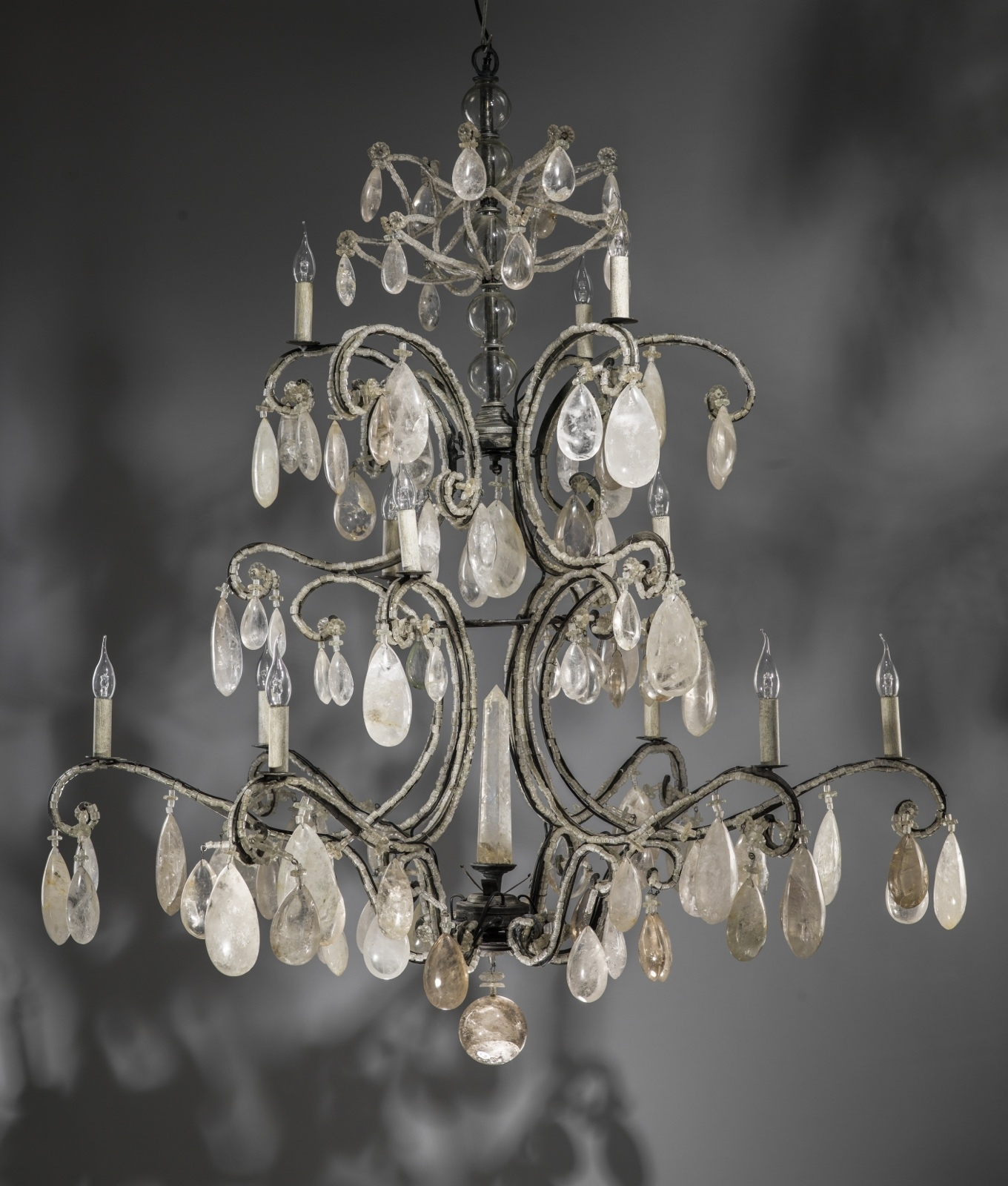 2019 Massive Wrought Iron Rock Crystal Chandelier With 12 Lights (T3435 For Massive Chandelier (View 1 of 20)