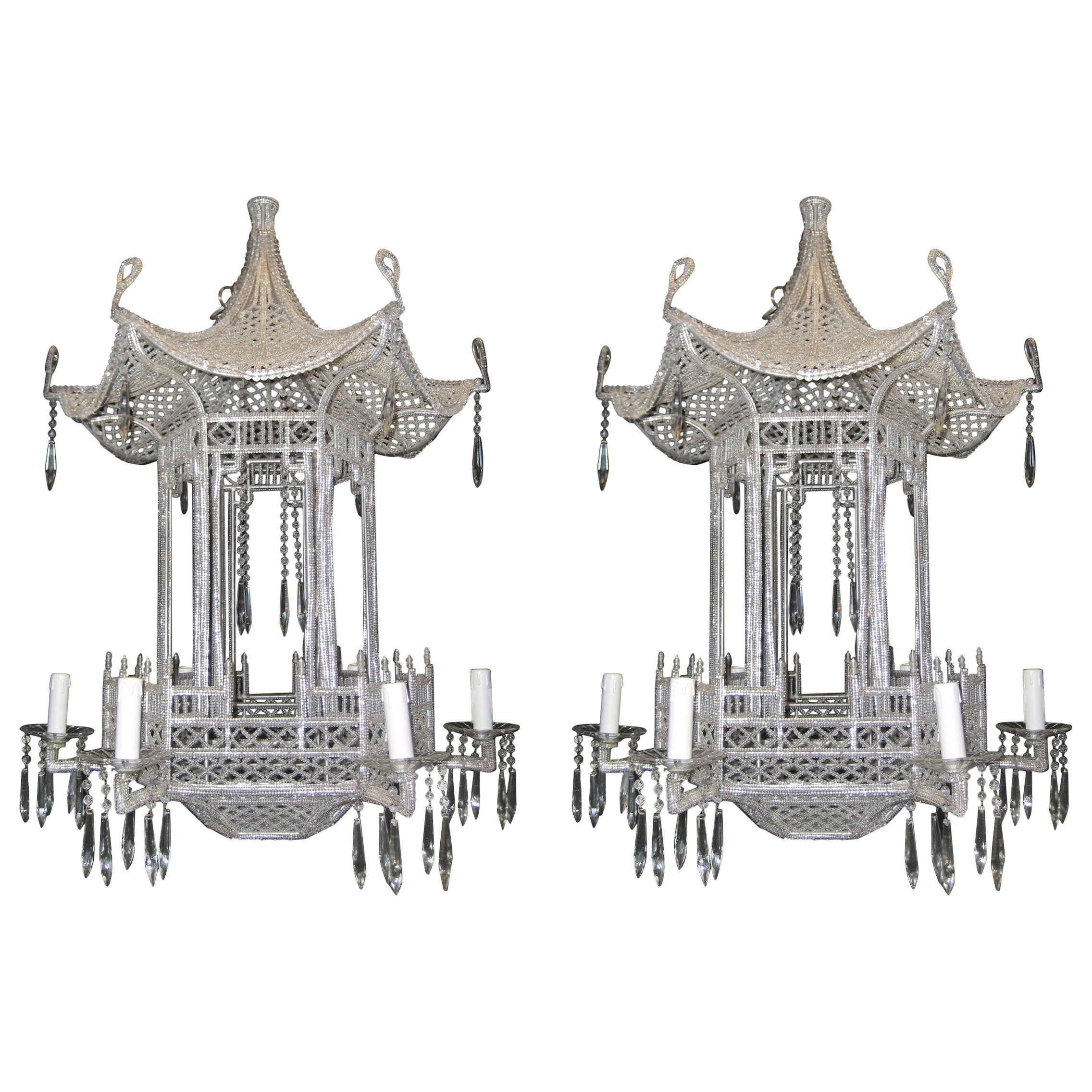 2019 Pair Of Italian Chinoiserie Pagoda Form Beaded Glass And Crystal Inside Chinoiserie Chandeliers (View 3 of 20)