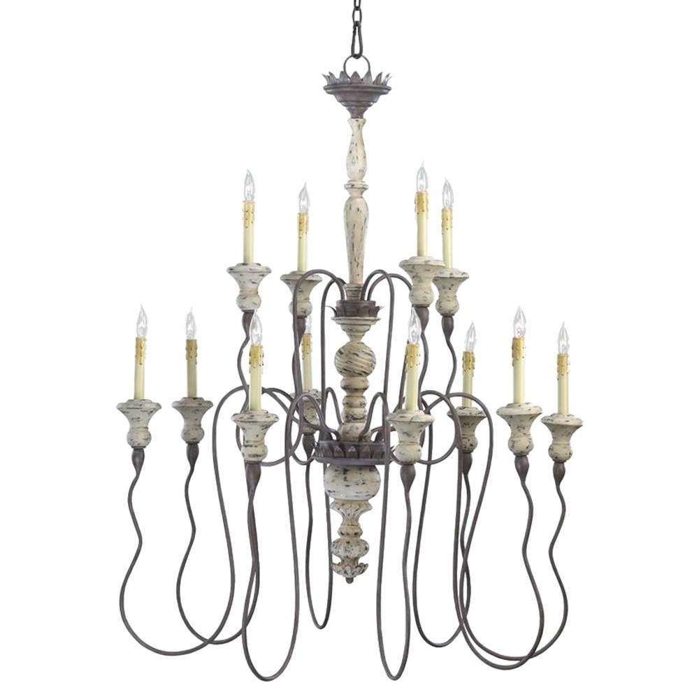 2019 Provence French Country White And Grey Wash 12 Light Chandelier Pertaining To French Country Chandeliers (View 8 of 20)
