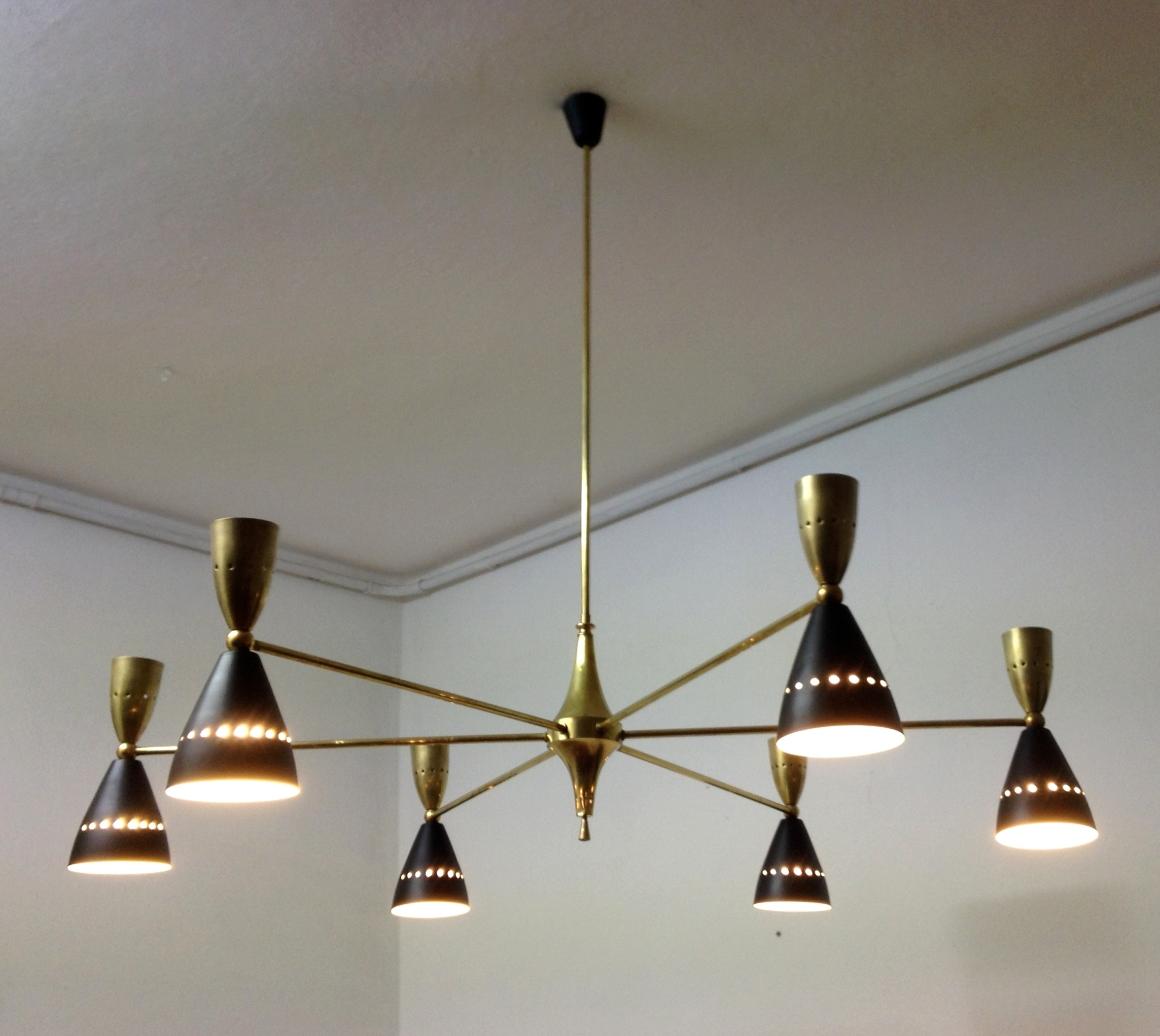 2019 Stylish Large And Authentic Double Coned Italian Mid Century In Large Brass Chandelier (View 2 of 20)