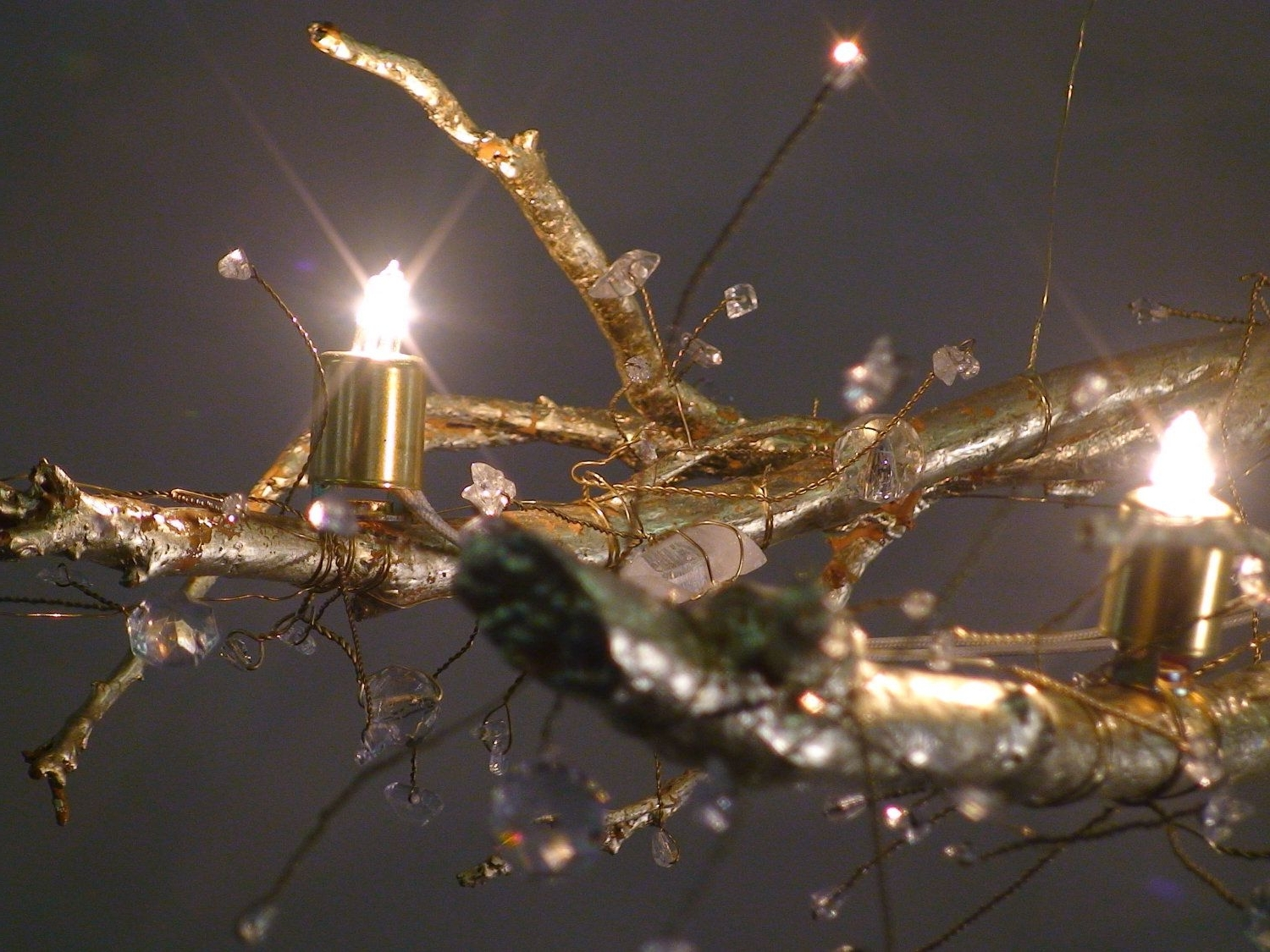 2019 Tree Branch Crystal Chandelier With 22 Kt Gold Leaf, Natural Quartz In Branch Crystal Chandelier (View 19 of 20)