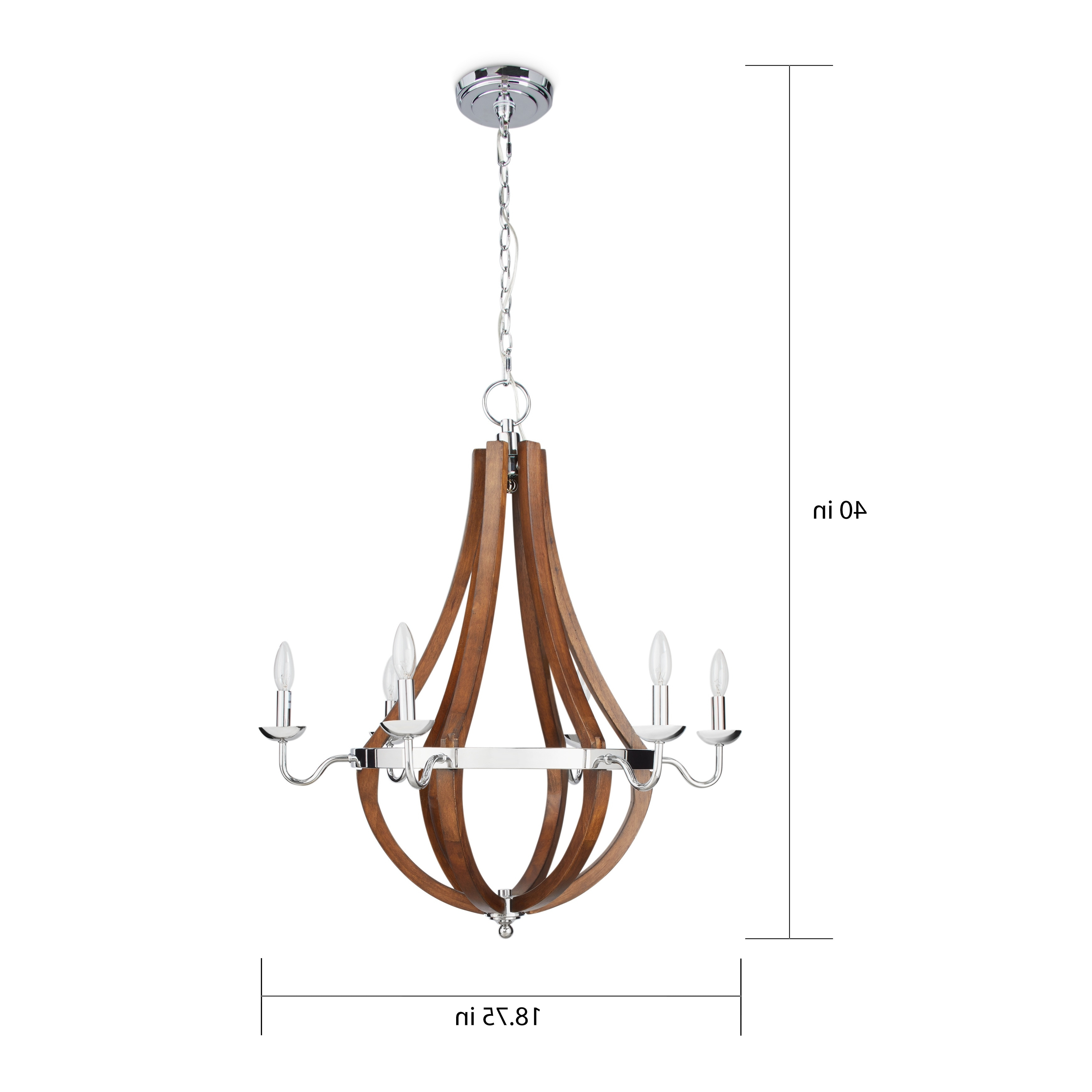 2019 Vineyard Wood And Chrome 6 Light Chandelier – Free Shipping Today Throughout Chrome Chandeliers (View 3 of 20)