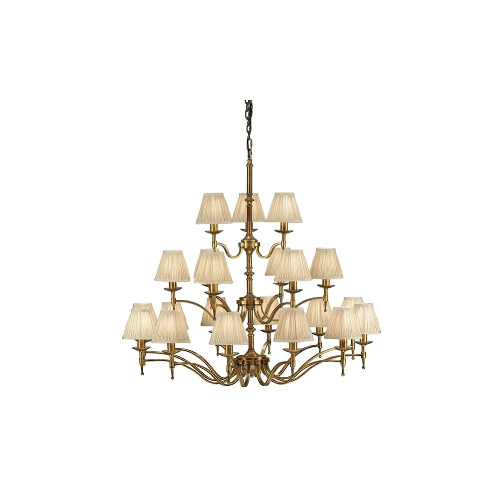 21 Light Antique Brass Chandelier With Beige Candle Clip Shades Regarding Well Known Large Brass Chandelier (View 16 of 20)
