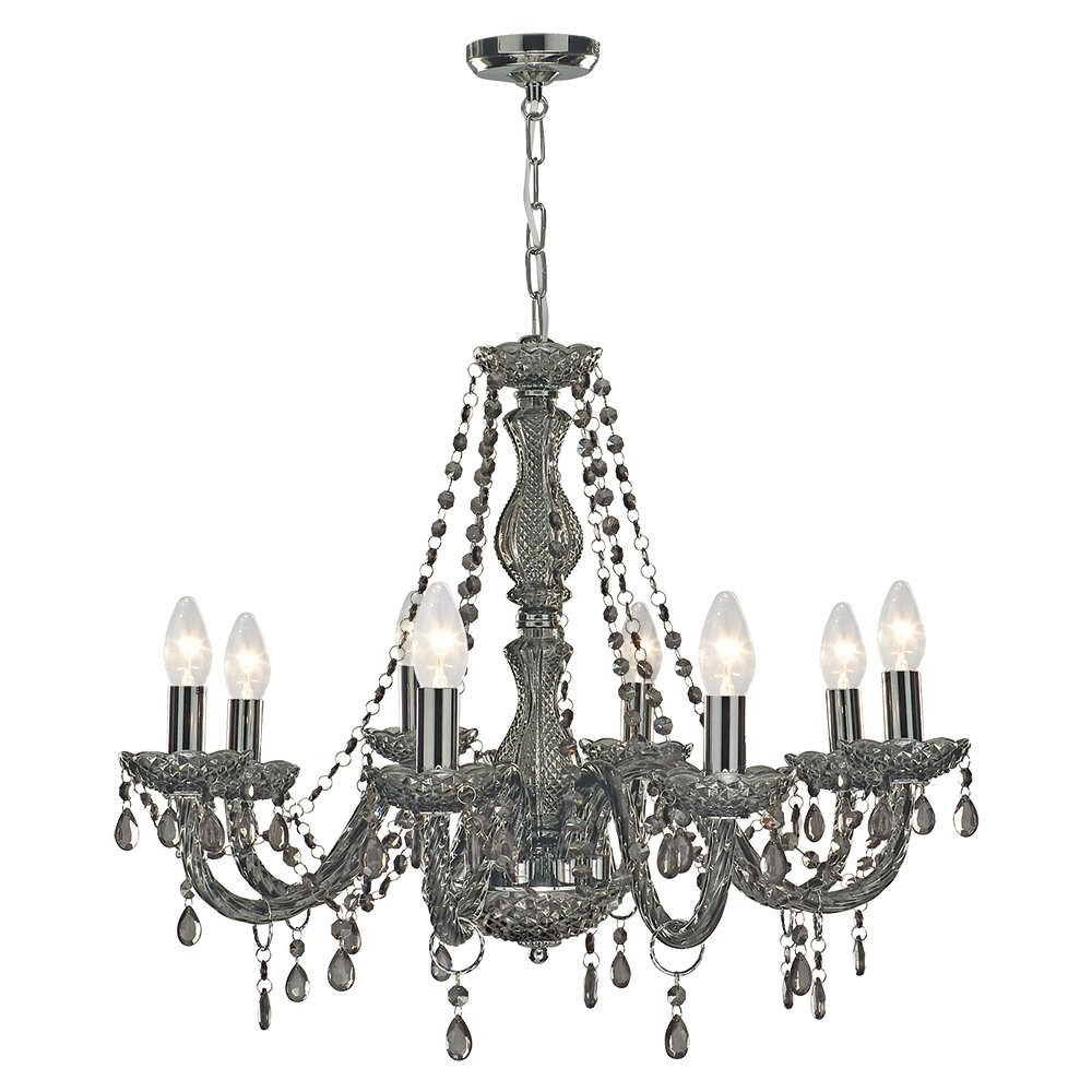 213 Searchlight 8698 8gy Marie Therese 8 Light Chandelier Smoked Regarding Most Recent Grey Chandeliers (View 8 of 20)