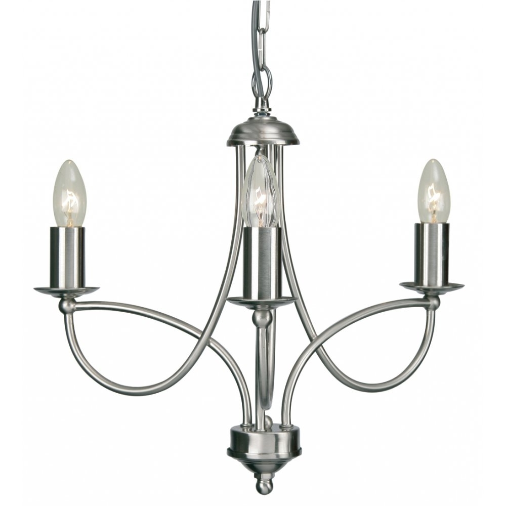 2711/3Ac Loop 3 Light Chandelier In Antique Chrome Intended For Most Current Chrome Chandelier (View 2 of 20)