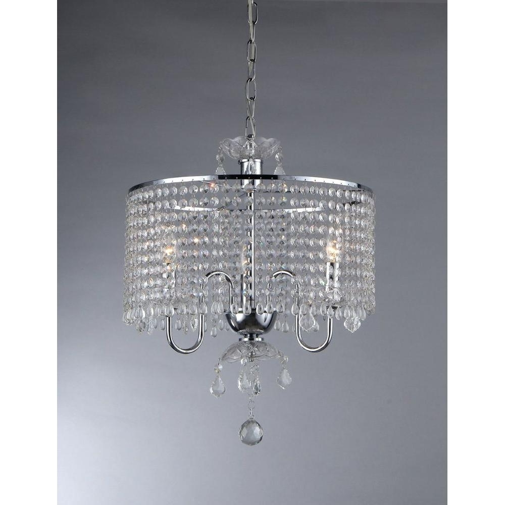 3 Light Crystal Chandeliers In Most Up To Date Warehouse Of Tiffany Elija 3 Light Chrome Crystal Chandelier With (Gallery 3 of 20)