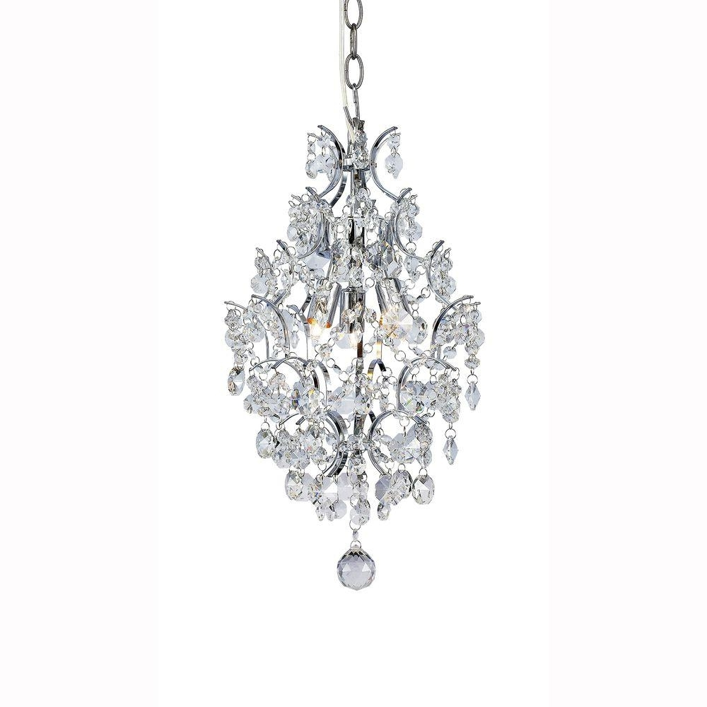 3 Light Crystal Chandeliers Within Trendy Hampton Bay 3 Light Chrome Branches Pendant With Crystals  (View 8 of 20)