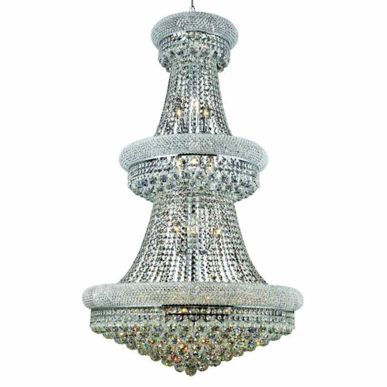 """3 Tier Crystal Chandelier With Most Current Brizzo Lighting Stores. 50"""" Empire Crystal Large Foyer Round 3 Tier (Gallery 2 of 20)"""