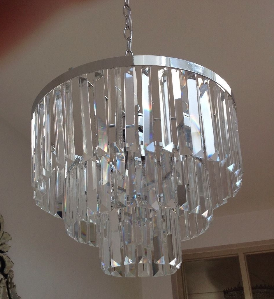 3 Tier Crystal Chandelier With Regard To Fashionable Laura Ashley Oxshott 3 Tier Crystal Chandelier Only Bought 3 Weeks (Gallery 4 of 20)